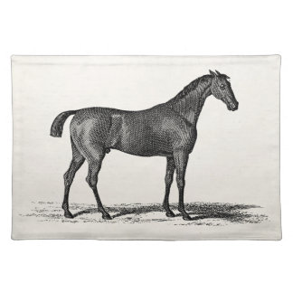 Vintage 1800s English Race Horse - Racing Horses Place Mats