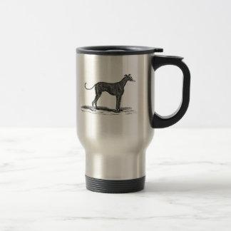 Vintage 1800s Greyhound Dog Illustration - Dogs Travel Mug