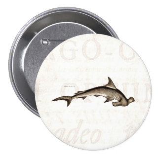 Vintage 1800s Hammerhead Shark Old Hammer Head 3 Inch Round Button