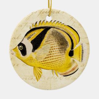 Vintage 1800s Hawaiian Butterfly Fish Illustration Ceramic Ornament