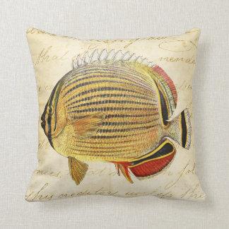 Vintage 1800s Hawaiian Butterfly Fish Illustration Pillow