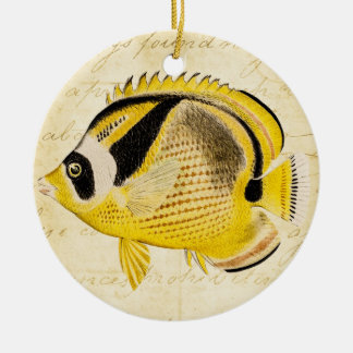 Vintage 1800s Hawaiian Butterfly Fish Illustration Round Ceramic Ornament
