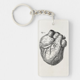 Vintage 1800s Heart Retro Cardiac Anatomy Hearts Keychain