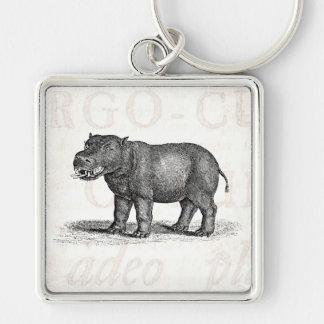 Vintage 1800s Hippopotamus Illustration - Hippos Keychain