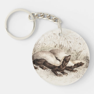 Vintage 1800s Honey Badger Bee Hive Template Retro Keychain
