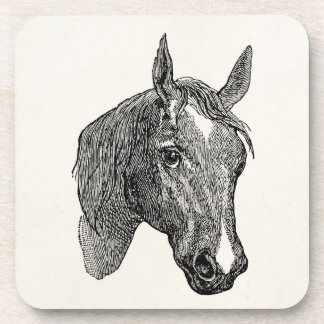 Vintage 1800s Horse Head Illustration Retro Horses Coaster