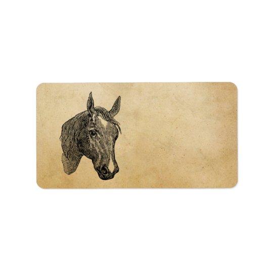 Vintage 1800s Horse Head Illustration Retro Horses Label
