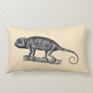 Vintage 1800s Iguana Lizard Illustration Parchment Lumbar Pillow