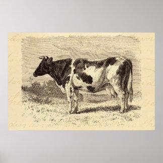 Vintage 1800s Large Dutch Cow Retro Cows Yellow Poster