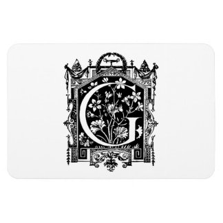 Vintage 1800s Letter G Monogram Illustration Magnet