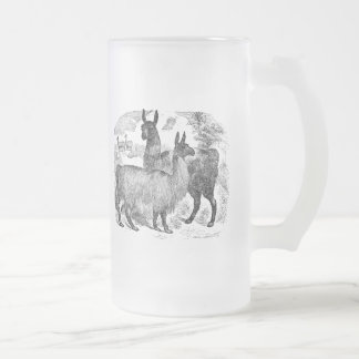 Vintage 1800s Llama Retro Alpaca Llamas Template Frosted Glass Beer Mug