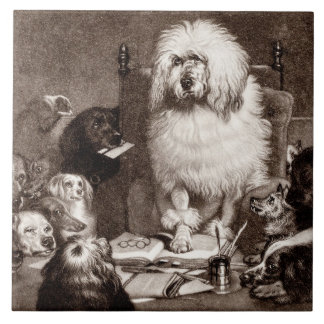 Vintage 1800s Magistrate Poodle w Dogs Template Tile