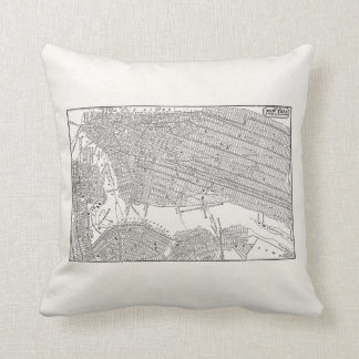 Vintage 1800s New York City Brooklyn Map NYC Maps Throw Pillow