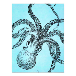 Vintage 1800s Octopus on Teal Blue Watercolor Art Photo