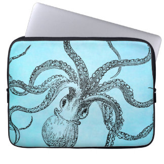 Vintage 1800s Octopus on Teal Blue Watercolor Laptop Sleeve