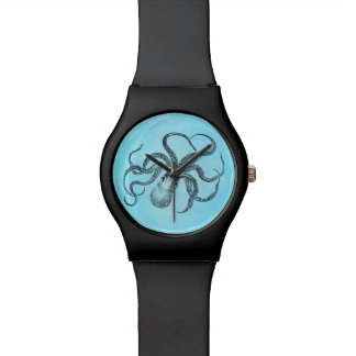 Vintage 1800s Octopus Teal Watercolor Blue Watch