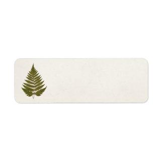 Vintage 1800s Olive Green Fern Leaf Template Return Address Label