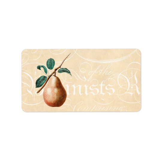 Vintage 1800s Pear Fruit Branch w Leaves - Pears Label