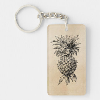 Vintage 1800s Pineapple Illustration Pineapples Single-Sided Rectangular Acrylic Keychain