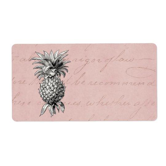Vintage 1800s Pineapple Illustration Pink Shipping Label