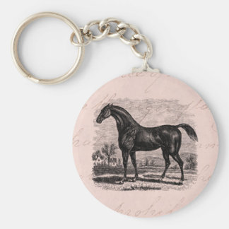Vintage 1800s Race Horse Retro Thoroughbred Horses Keychain