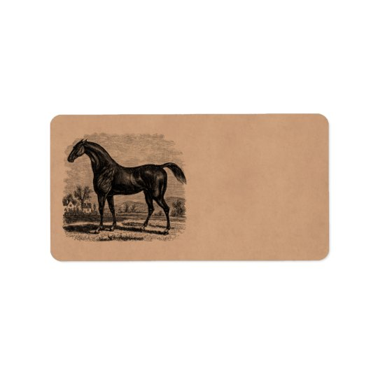 Vintage 1800s Race Horse Retro Thoroughbred Horses Label