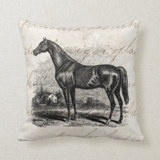 Vintage 1800s Race Horse Retro Thoroughbred Horses Throw Pillow