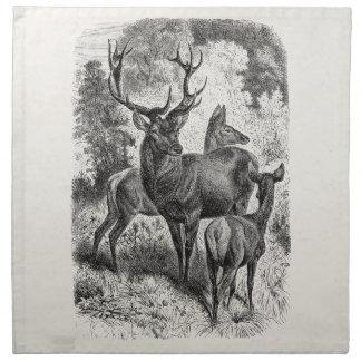 Vintage 1800s Red Deer Illustration Stag Doe Fawn Cloth Napkin