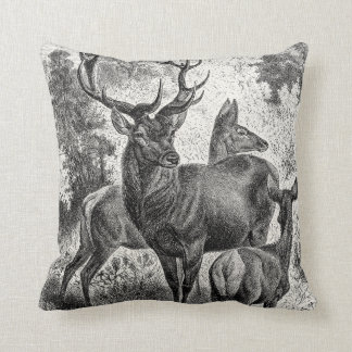 Vintage 1800s Red Deer Illustration Stag Doe Fawn Throw Pillow
