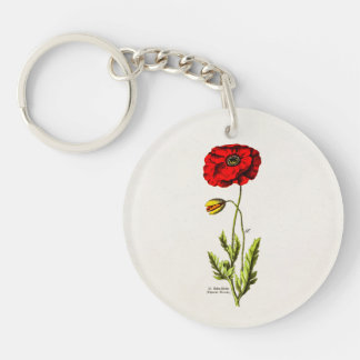 Vintage 1800s Red Poppy Wild Flower Floral Poppies Single-Sided Round Acrylic Keychain