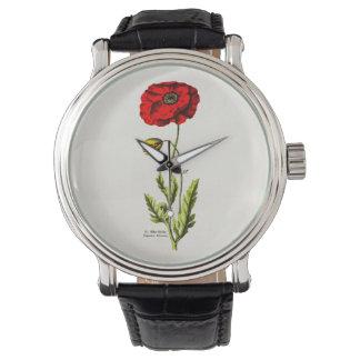 Vintage 1800s Red Poppy Wild Flower Floral Poppies Wristwatches