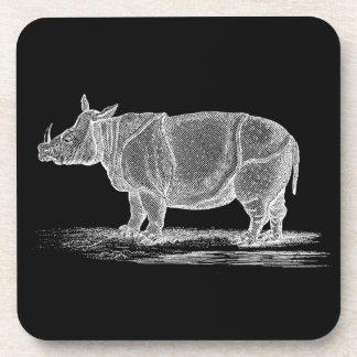 Vintage 1800s Rhinoceros Illustration - Rhino Coaster