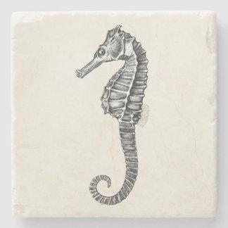 Vintage 1800s Sea Horse Ocean Seahorse Template Stone Coaster