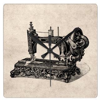 Vintage 1800s Sewing Machine Illustration Clock