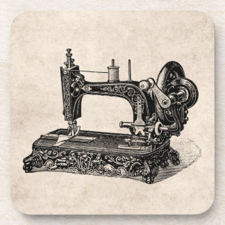 Vintage 1800s Sewing Machine Illustration Coaster