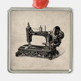 Vintage 1800s Sewing Machine Illustration Metal Ornament