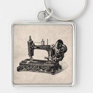 Vintage 1800s Sewing Machine Illustration Silver-Colored Square Keychain