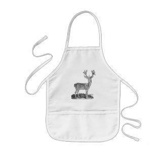 Vintage 1800s Stag Deer Antlers Retro Template Kids Apron