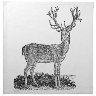 Vintage 1800s Stag Deer Antlers Retro Template Napkin