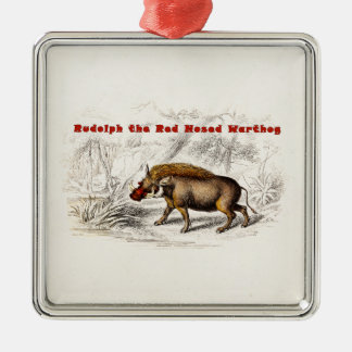 Vintage 1800s the Red Nosed Warthog Silver-Colored Square Ornament