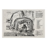 Vintage 1800s Tower of London Antique Map England Poster