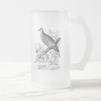 Vintage 1800s Turtle Dove Bird Doves Pigeon Birds Frosted Glass Beer Mug