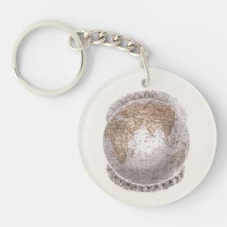 Vintage 1800s World Map Eastern Hemisphere Globe Single-Sided Round Acrylic Keychain