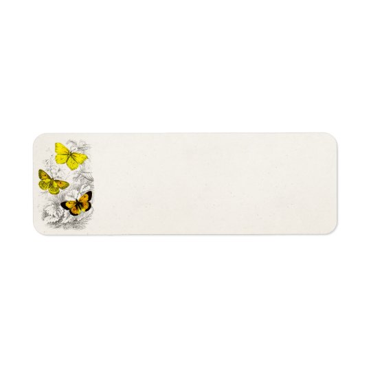 Vintage 1800s Yellow Orange Butterflies Template Return Address Label