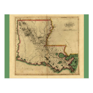 Vintage 1814 Louisiana Map Postcard