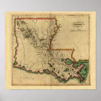 Vintage 1814 Louisiana Map Poster