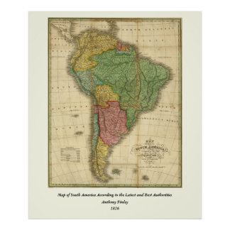 Vintage 1826 South America Map by Anthony Finley Poster