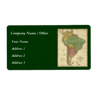 Vintage 1826 South America Map by Anthony Finley Shipping Label