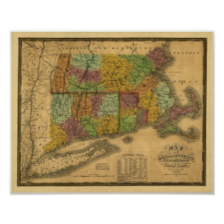Vintage 1831 Map - Southern New England Poster