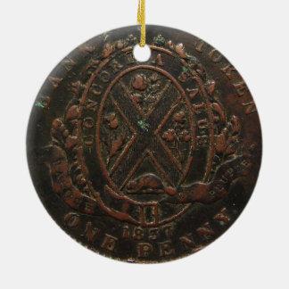 """""""Vintage 1837 Concordia Bank Penny"""" Ceramic Ornament"""